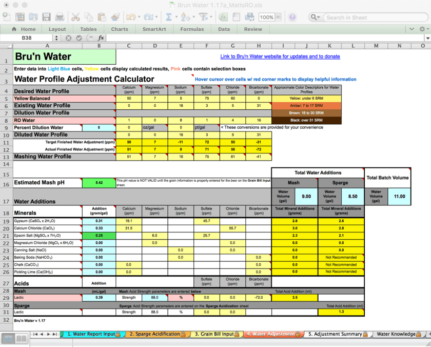 Bru'n Water Free Spreadsheet v 1.17a Water Adjustment for Koelsch