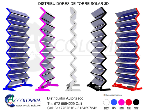 torres solares 3D panel foltovoltaica energia solar panel solar 3d