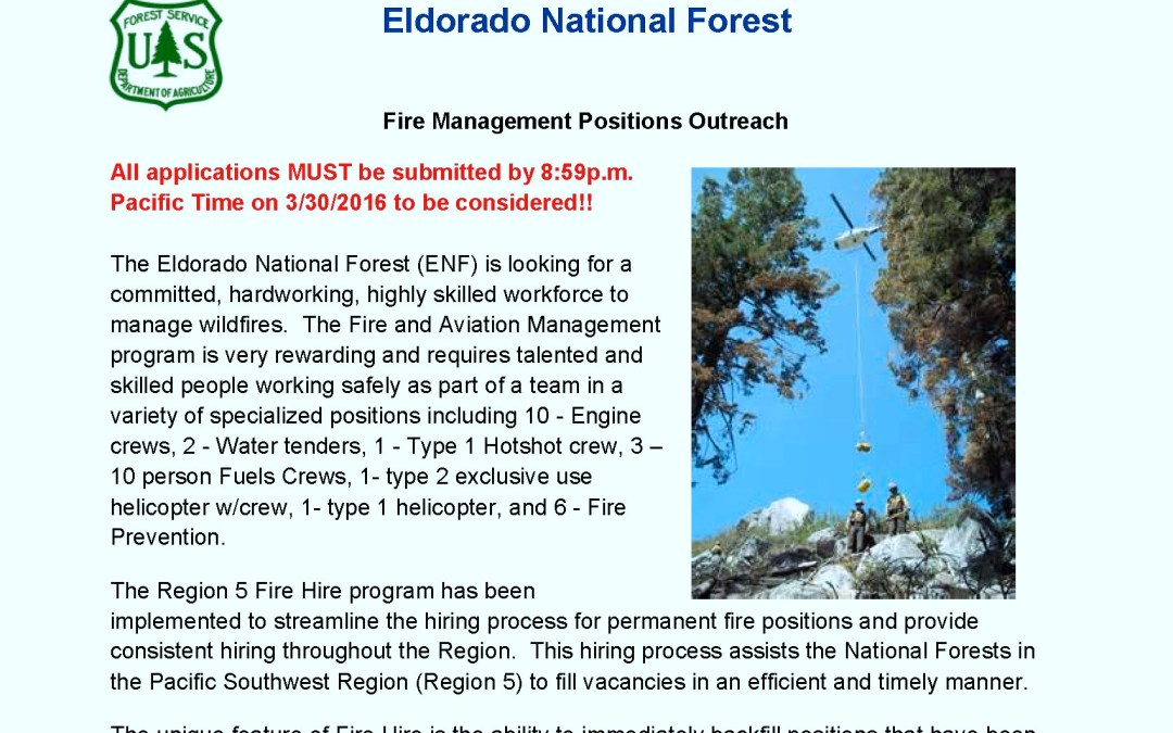 US Forest Service Jobs:   2016 R5 Fire Hire Eldorado National Forest