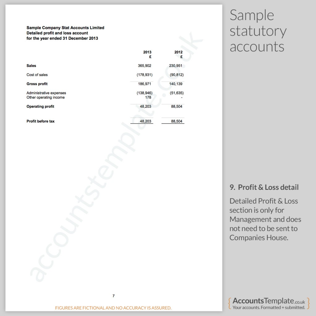 accounts profit and loss account format