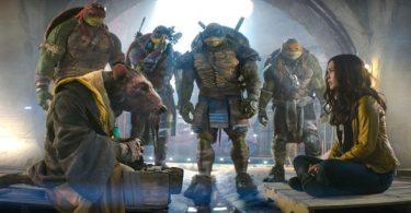 Raphael, Splinter, Donatello, Leonardo, Michelangelo, and Megan Fox as April O'Neil