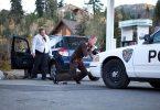 """Cop fleeing zombie in """"Dead Stop"""""""