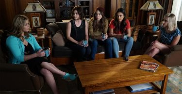 """PRETTY LITTLE LIARS - """"FrAmed"""" - After their latest run-in with Charles, tensions are at an all-time high with the PLLs and the town of Rosewood. Aria's big moment of seeing her work displayed in an art gallery is in jeopardy as Ella is determined to keep her safe at home. Hanna is still uncomfortable with the unexpected scholarship money and is determined to give it back, even if that means ruining her chances at going to her school of choice. And to top it off, the one normal high-school rite of passage the girls are looking forward too is in danger as Rosewood High is considering not letting the PLLs attend prom due to security issues. Meanwhile, the more Alison learns about her brother the harder she finds it to connect a deranged murderer to the young blonde haired boy she sees in the photos and in her memories, on an all new episode of ABC Family's hit original series """"Pretty Little Liars,"""" airing Tuesday, July 28th (8:00 - 9:00 PM ET/PT). (ABC Family/Eric McCandless) SASHA PIETERSE, LUCY HALE, TROIAN BELLISARIO, SHAY MITCHELL, ASHLEY BENSON"""
