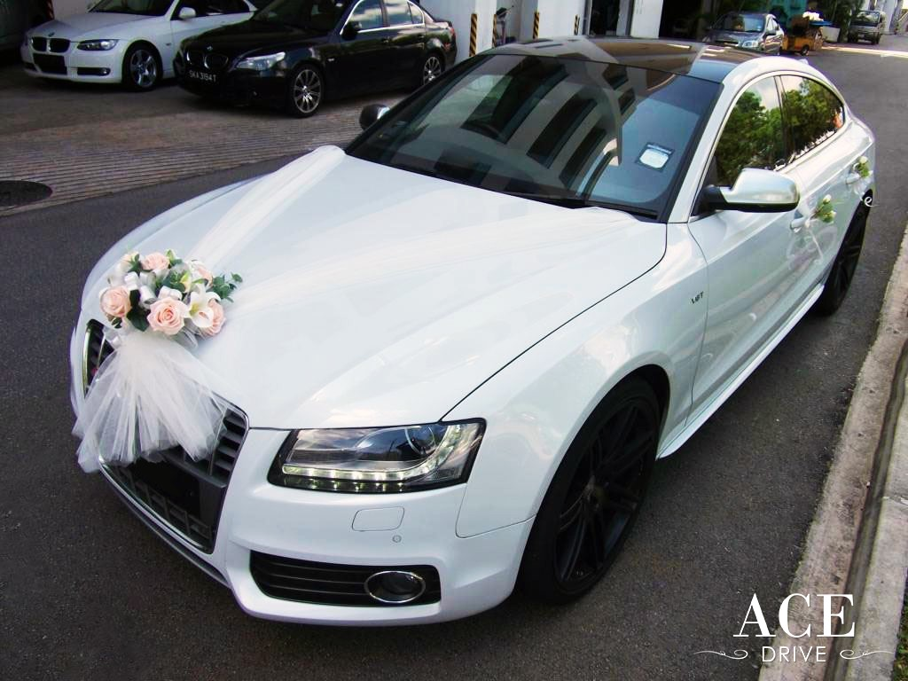 Car Decoration Weding White Audi S5 Wedding Car Decorations By Ace Drive Car Rental