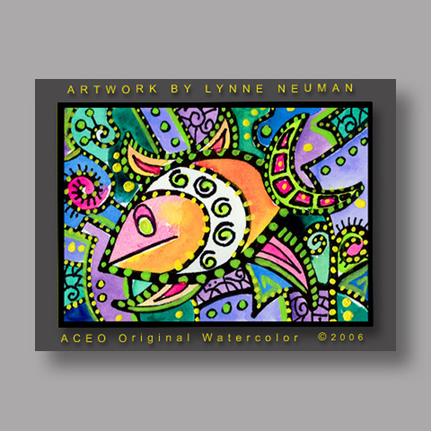 Signed ACEO *Whimsical Fish #224* by Lynne Neuman
