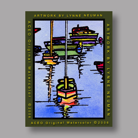 Signed ACEO *Boats #366* by Lynne Neuman