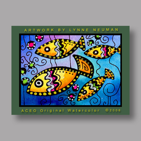Signed ACEO *Fish #378* by Lynne Neuman