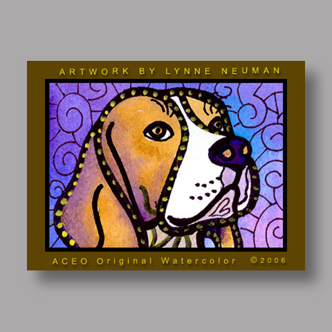 Signed ACEO *Beagle Puppy Dog #415* by Lynne Neuman
