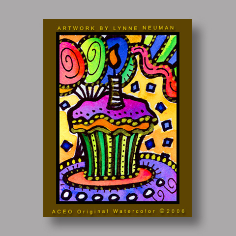Signed ACEO *Birthday Cupcake #469* by Lynne Neuman