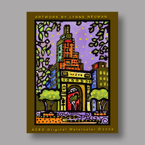 Signed ACEO *Washington Square NY #519* by Lynne Neuman