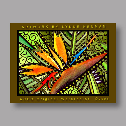 Signed ACEO *Bird of Paradise Flower #534* by Lynne Neuman