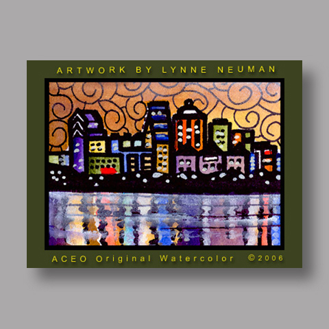 Signed ACEO *Austin Texas Skyline #536* by Lynne Neuman