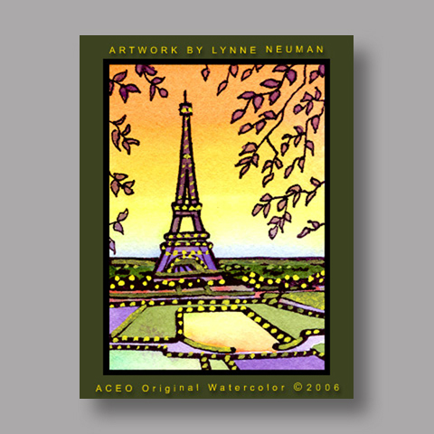 Signed ACEO *Eiffel Tower Paris #590* by Lynne Neuman