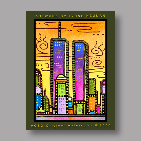 Signed ACEO *World Trade Center NY #635* by Lynne Neuman