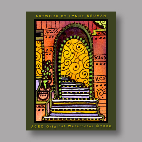 Signed ACEO *Mexican Stairway #636* by Lynne Neuman