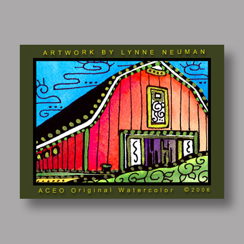 Signed ACEO *Red Barn #0666* by Lynne Neuman