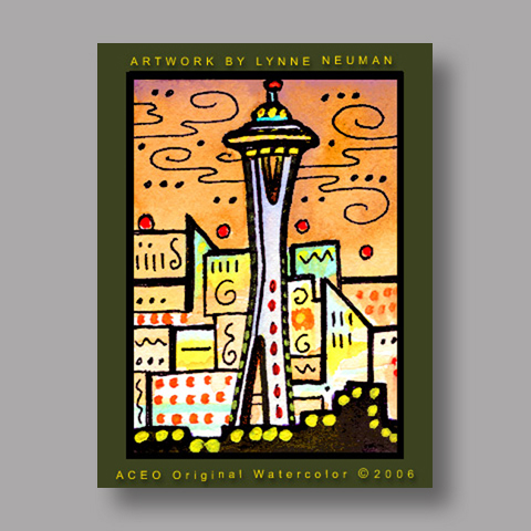 Signed ACEO *Seattle Washington #1134* by Lynne Neuman
