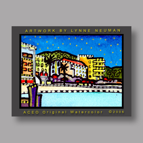 Signed ACEO *St. Maarten Caribbean Vacation #1146* by Lynne Neuman