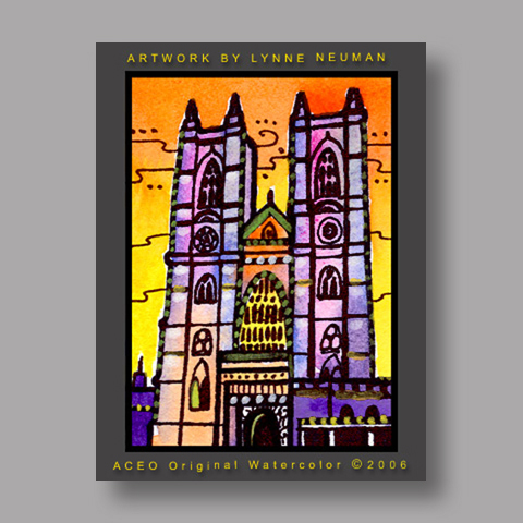 Signed ACEO *Westminster Abby London #1190* by Lynne Neuman