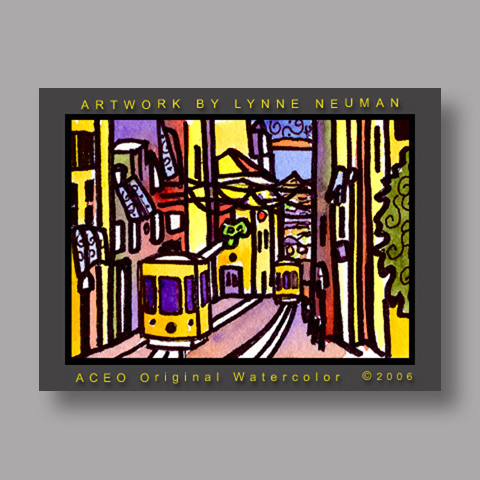 Signed ACEO *Lisbon Portugal Trolley #1193* by Lynne Neuman