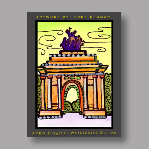 Signed ACEO *Wellington Arch London #1199* by Lynne Neuman
