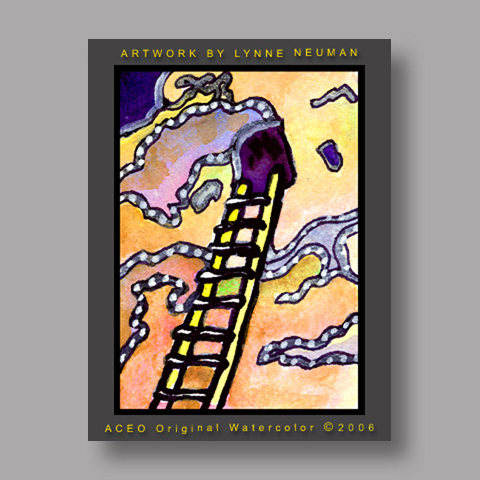 Signed ACEO *Bandelier Ladder New Mexico #1211* by Lynne Neuman