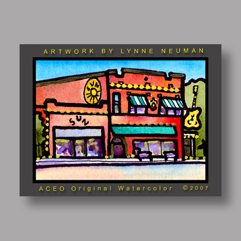 Signed ACEO *Sun Records Memphis TN #1343* by Lynne Neuman