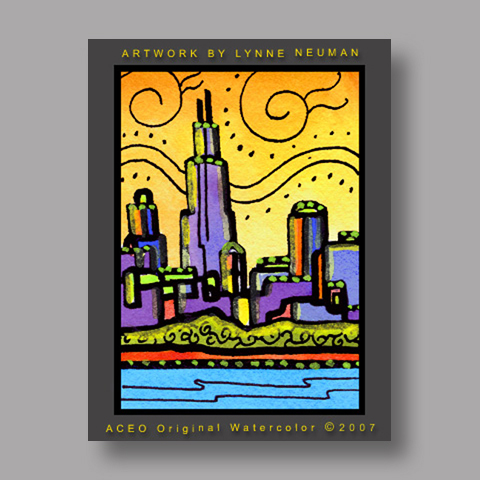 Signed ACEO *Chicago Skyline #1392* by Lynne Neuman