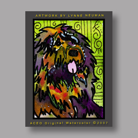 Signed ACEO *Briard Dog #1430* by Lynne Neuman