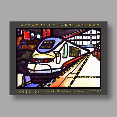 Signed ACEO *Bullet Train #1495* by Lynne Neuman