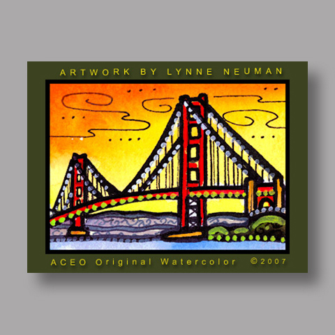 Signed ACEO *San Francisco Golden Gate Bridge #1621* by Lynne Neuman