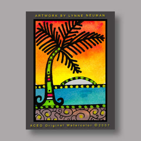 Signed ACEO *Palm Tree Sunset #1699* by Lynne Neuman