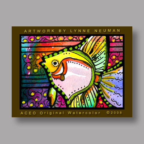 Signed ACEO *Colorful Fish #2046* by Lynne Neuman
