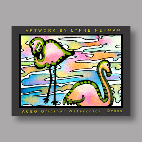 Signed ACEO *Miami Florida Flamingos #2101* by Lynne Neuman