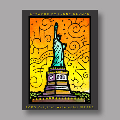 Signed ACEO *Statue of Liberty NY #2210* by Lynne Neuman