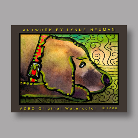 Signed ACEO *Brown Lab Puppy Dog #2364* by Lynne Neuman