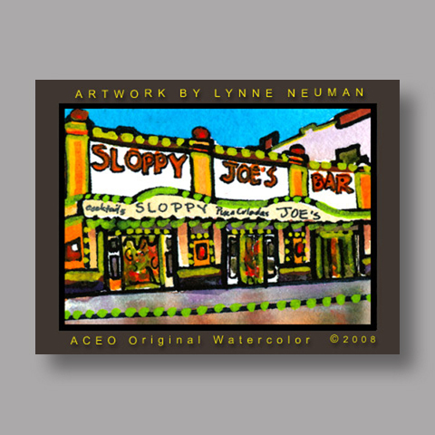 Signed ACEO *Sloppy Joes Bar Key West #2519* by Lynne Neuman
