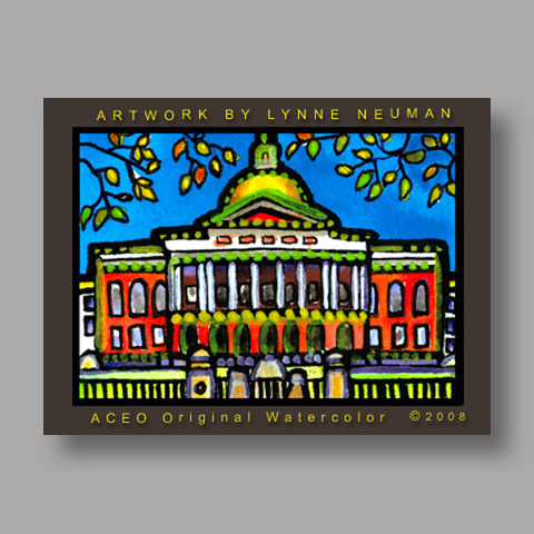 Signed ACEO *Massachusetts State House #2597* by Lynne Neuman