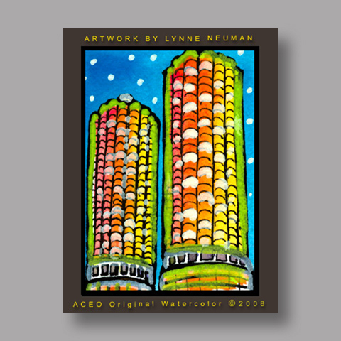 Signed ACEO *Chicago Marina City Towers #2661* by Lynne Neuman