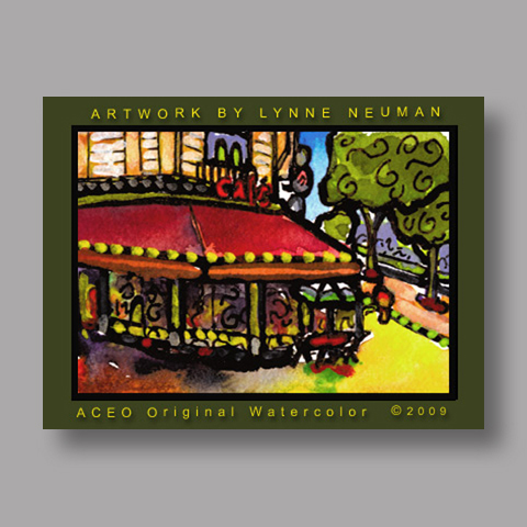 Signed ACEO *Paris France Cafe #2843* by Lynne Neuman