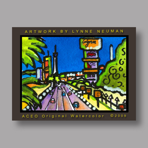 Signed ACEO *Las Vegas Strip Nevada #2965* by Lynne Neuman