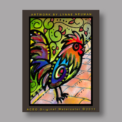 Signed ACEO *Colorful Rooster Key West Florida #3172* by Lynne Neuman