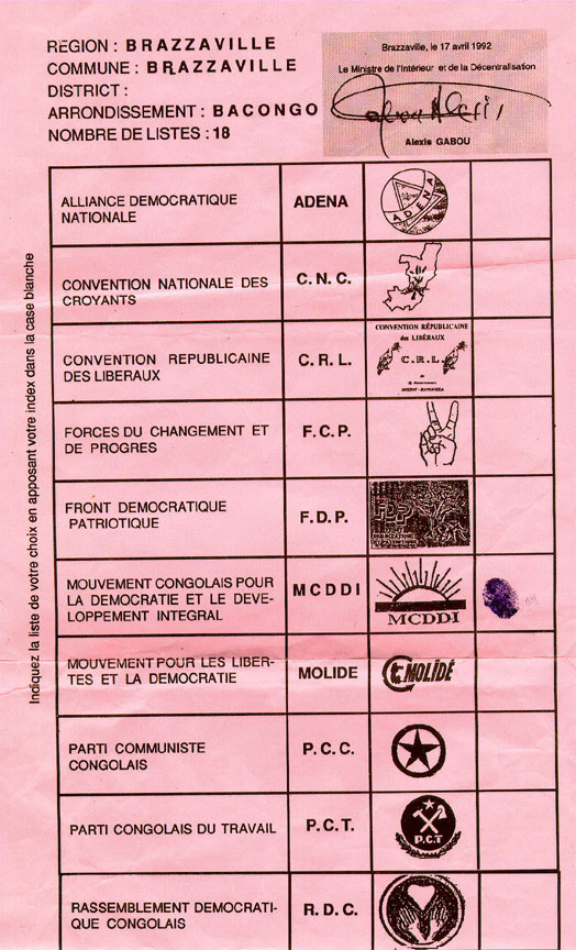 Sample ballot from Congo (Brazzaville) Ballot design Pinterest - sample receptionist resume