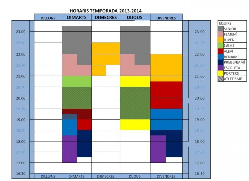 HORARIS DEFINITIUS TEMPORADA 13-14