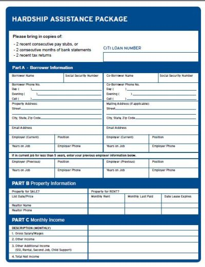 CitiMortgage RMA Loan Modification Forms, Check List, And PackagePDF