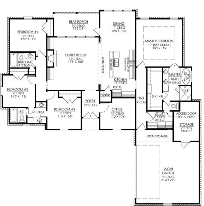 4 Rooms Four Bedroom House Plans | Acha Homes