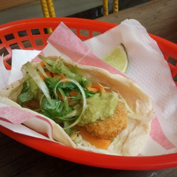Camarones - Spice-crumbed Tiger Prawns on pickled Sabbage, Salsa Verde and Toasted Pepitas ($6)