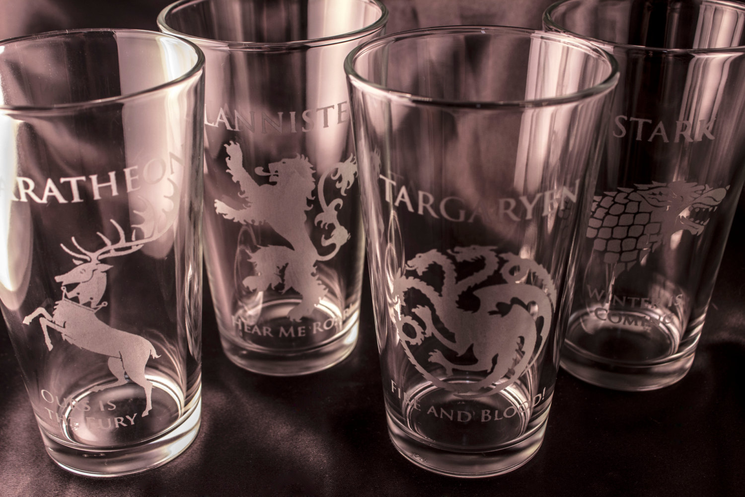 Drinking Glasses Designs Game Of Thrones Glass House Sigil Etched Drinking Glass
