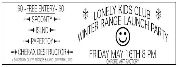 Lonely Kids Club - Winter Range Launch Party - acid stag -banner