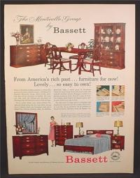 Magazine Ad For Bassett Furniture, Bedroom, Dining Room ...